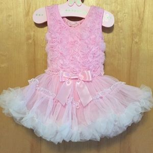 NWOT pink flower onesie dress with tulle skirt.